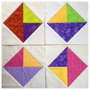 Foundation paper pieced triangles in a square blocks