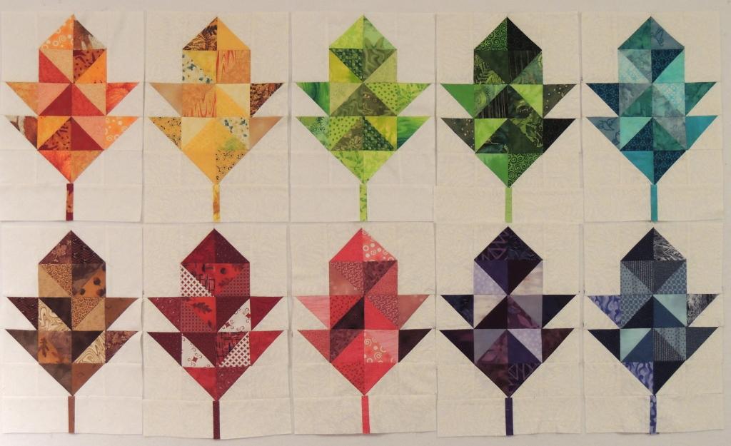Sophie's scrappy rainbow oak leaf blocks