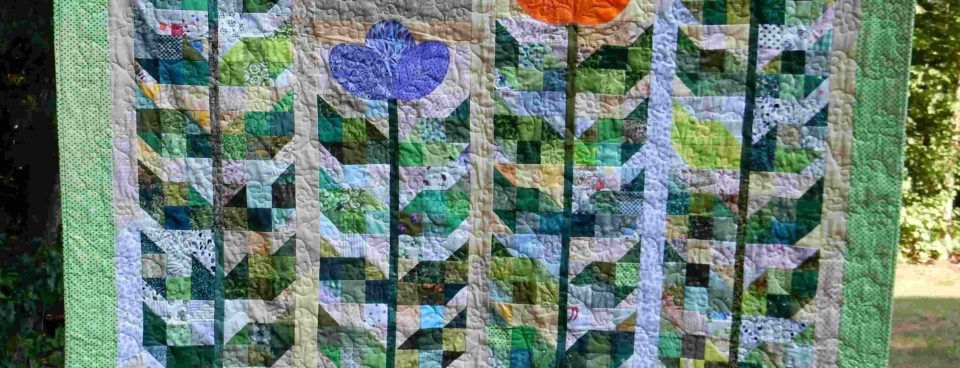 Leaf blocks quilted and done!